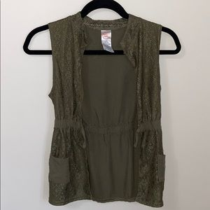 Girls Army Green Lace Vest